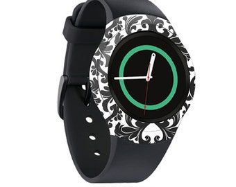 Skin Decal Wrap for Samsung Gear S2, S2 3G, Live, Neo S Smart Watch, Galaxy Gear Fit cover sticker Black Damask