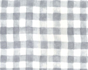 Double Gauze fabric by the yard - Mini Painted Gingham - Double Gauze Fabric - Layette Fabric - Modern Double Gauze - Gray and White Gingham