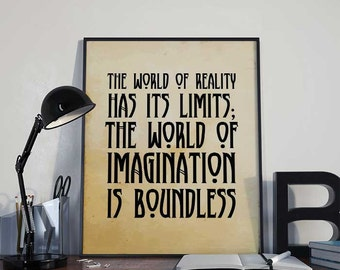 Steampunk Art Print Poster - Imagination is Boundless - PRINTABLE - Wall Decor, Inspirational Printable, Alternative Home Decor, Gift