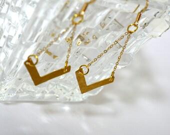 Chevron earrings, 14 karat gold earrings, geometric earrings, hammered brass earrings, chevron jewelry, gold chevron earrings, boho earrings
