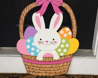 Easter Bunny in Basket Outdoor Wood Lawn Decoration