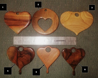 Hand carved wood hearts.