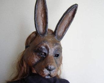 Masquerade mask Rabbit mask Hare mask Bunny mask Animal mask Paper mask Paper mache mask Face mask Halloween mask