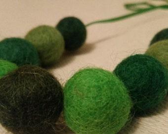 Green felt ball necklace. Felt Jewellrey