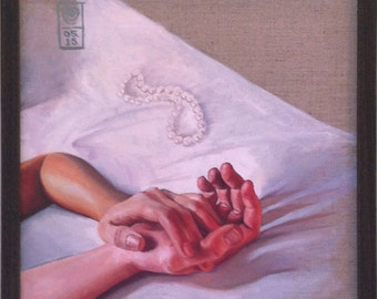Hold. An original framed oil painting, of two hands intwined, on stretched linen by Mel Evans. 450mm x 450mm.