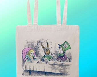 Alice in wonderland Mad Hatter Tea Party Bonkers - Reuseable Shopping Canvas Tote Bag