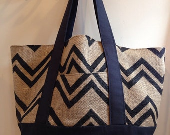 "Big size Burlap Market bag                           "" Chevron """