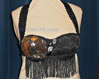 Belly Dance Bra black and silver black fringe cabaret style