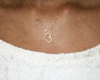 Heart Necklace Gold, Sideways Heart Necklace Gold, Heart Pendant Necklace, Heart Outline Necklace, Small Heart Necklace, Tiny Heart Necklace
