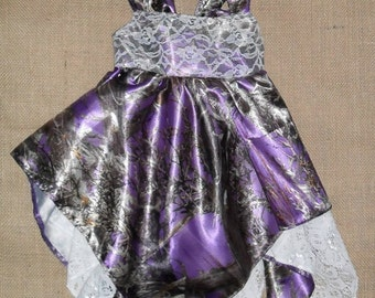 Truetimber Purple #18 satin Camo fabric & Lace handkerchief hem sundress.Select option for sizes. Also available  22 other camo colors