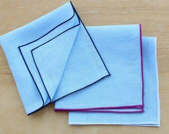 "Light Blue Pocket Square, Linen Handkerchiefs, Personalized Pocket Square, Wedding Apparel, Men's Handkerchief, Custom Pocket Square, 12"""