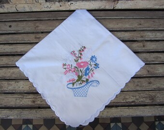 Vintage  Square Floral Embroidered Tablecloth