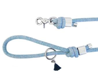 Dog leash - dog Paracord glittery blue leaves