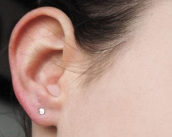 Dot earrings in 925 Silver 3 mm mini dot Earstud