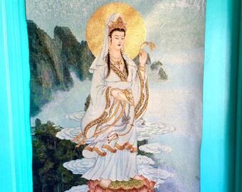 Radiant Kuan Yin pouring Healing ElixerTapestry/Thangka Handmade Weaving