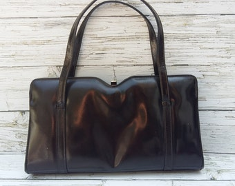 "Vintage 1950's Chocolate brown Leather Framed Handbag by ""ACKERY"" London."