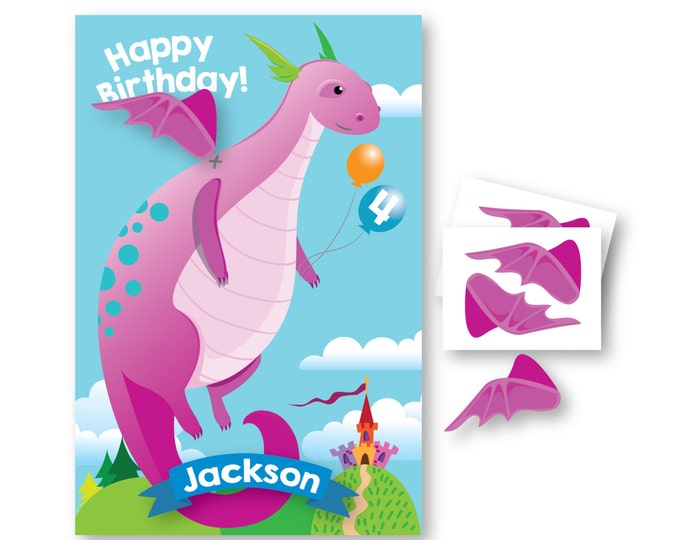 Pin the Wings on the Dragon- party game - DIY party game - party game for boys and girls - dragon game