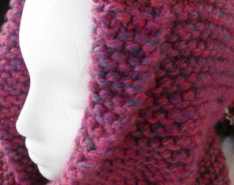 Knit hat, hooded hat, Berry color, Women, Teen, Girl  drapes around your head and neck