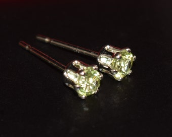Genuine, Vivid Green Peridot Earrings.  3mm round, faceted.  6-Prong, Sterling Silver.  Case + Gift Box, bullet, hypoallergenic backs.