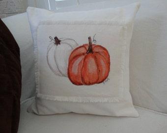 Fall Pumpkin Pillow Sham, Hand painted, Cottage Decor