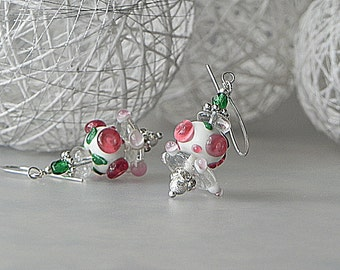 Rose Pink Earrings Rose Earrings Dangle Earrings Floral Lampwork Beadwork Earrings Pink Flower Earrings Pink Glass Earrings Nature Earrings