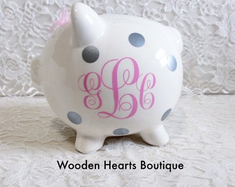 Large light Pink Personalized Piggy Bank, Custom Made, Customizable Bank, First Birthday, Baby Girl, Baby Shower Gift, Kids Bank, Pink Bank