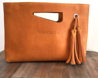 Leather clutch, small leather bag, leather handbag, pouch, evening bag, Tan purse,