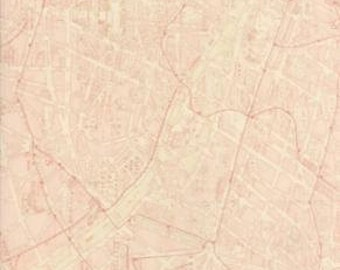 3 Sisters Passport  Ballet Pink Map of Paris 100% Cotton Quilt or Craft Fabric # 3736-16