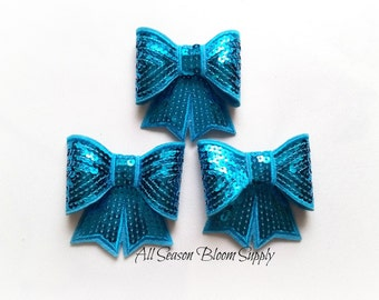 "Large Bows, Sequin Bow Knot Applique, Bows, Sequin bows, Turquoise Bows - 3""x2.7"""