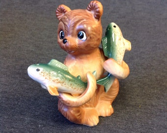 Vintage Bear Cub holding Fish ceramic Salt & Pepper Shaker Set