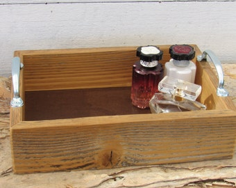 bathroom makeup toiletries perfume tray reclaimed upcycled distressed wood remote control tray gift under 30 dollars
