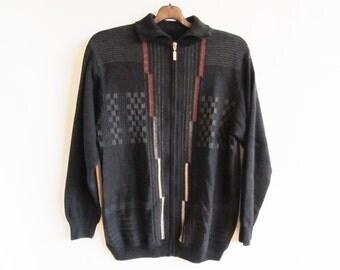 90s • Vintage • Men's Cardigan • Preppy Cardigan • Vintage Black Men's Cardigan • 90s Vintage Sweater • Preppy Sweater • Hipster • Mod