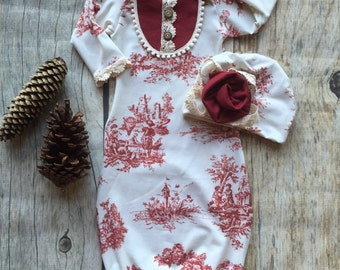 Baby girl gown, Vintage baby gown, cranberry toile baby gown, french style baby, baby shower gift, take home gown