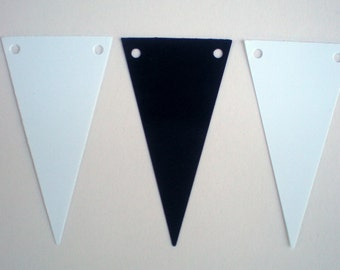 """50 Pennants - Black and White - 1.5"""" x 2.75"""" - with holes - weddings, birthdays, anniversaries, banner pennants- triangles"""