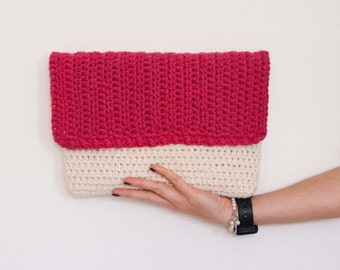 Clutch and crossbody bag, changeable crochet flap and internal pouch /Crasty Flap/ Irma
