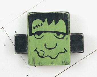 Frankenstein Wood Blocks Set Spooky Blocks Halloween Decoration Primitive Halloween Decor