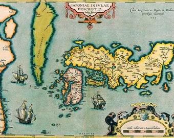 Abraham Ortelius: Map of Japan. Antique/Vintage Map. Fine Art Print/Poster (003875)