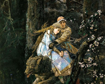 Viktor Vasnetsov: Prince Ivan on the Grey Wolf. Fine Art Print/Poster (00586)