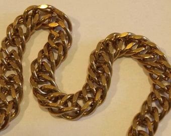 "Heavy 1/2"" Wide Brass Double Curb Chain by the Foot"