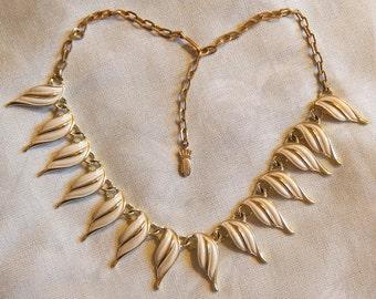 Beautiful Vintage Emmons Necklace - Gold Tone with White Enamel Stylized Leaves, 1960s