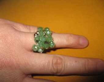 handmade ring with green Crystal