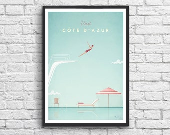 Art-Poster 50 x 70 cm - Côte d'Azur France Travel Poster
