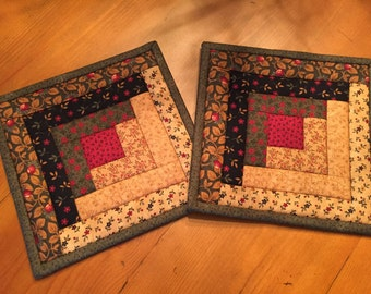 Quilted Pot Holders / Log Cabin / Hot Pads / Item # 1216
