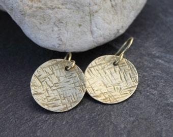 Minimal Brass lunar hammered circles earrings