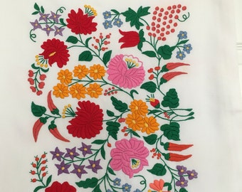 "Traditional  Hungarian Hand Made Embroidered Pillow Cover Hungarian Kalocsa Floral embroidery European Pillow Case 21"" by 17"""