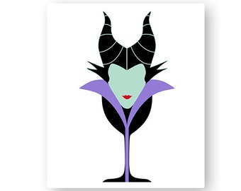 Disney, Maleficent, Sleeping Beauty, Villain, Food, Wine, Glass, Festival, Illustration, TShirt Design, Cut File, svg, pdf, eps, png, dxf