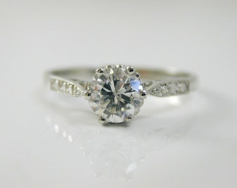 Diamond solitaire ring 0.75 carats platinum colour F size O 1/2 Anchorcert ntee