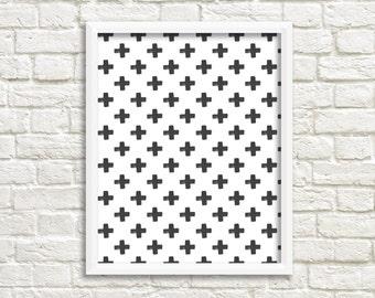 Black and White Printable Plus Sign Modern Print B&W Modern Prints  Printable Art  Instant Download Printable Decor