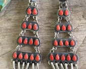 Stunning Navajo Coral and Sterling Chandelier Earrings by Sheila Biscenti
