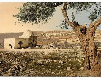 Tomb of Rachel, Jerusalem, Holy Land] 1890. Vintage photo postcard reprint 8x10-up.